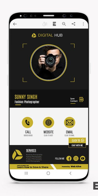 Photography Digital Visiting Card by Web Alive
